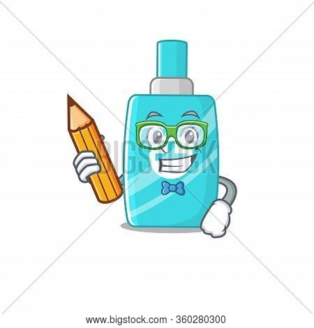 A Brainy Student Ointment Cream Cartoon Character With Pencil And Glasses