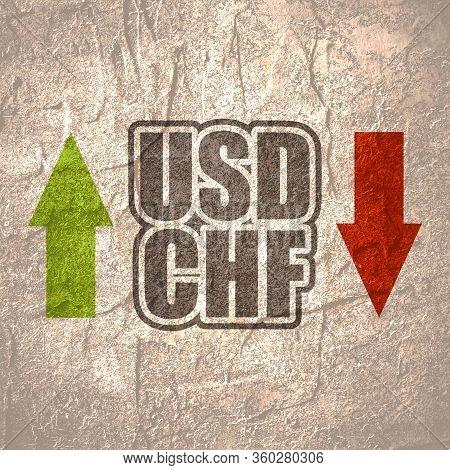 Financial Market Trading Concept. Currency Pair. Acronym Chf - Swiss Franc Currency. Acronym Usd - U