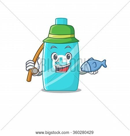 Cartoon Design Concept Of Ointment Cream While Fishing