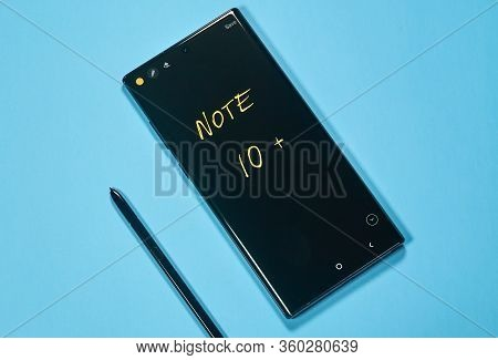 Montreal, Canada - March 14, 2020: Samsung Galaxy Note 10 Plus Cellphone. Samsung Galaxy Note10 Is A