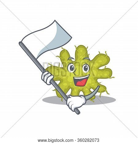 A Nationalistic Bacterium Mascot Character Design With Flag