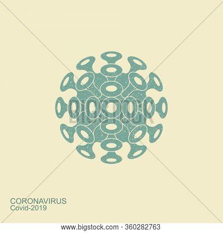 Coronavirus Flat Icon. Vector Stylized Icon Vintage Style