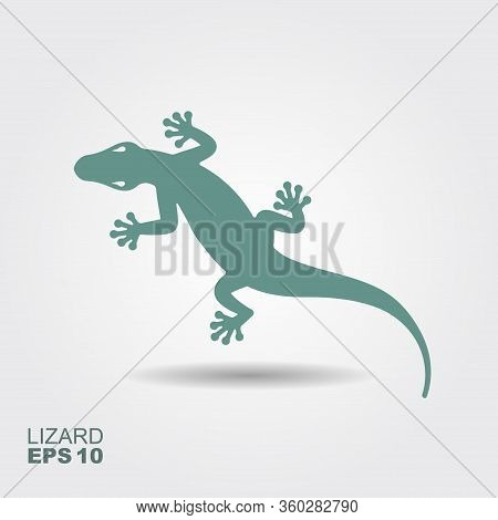 Lizard. Flat Monochrome Icon With A Shadow. Vector Illustration