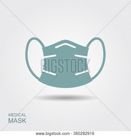 Protection Face Mask. Flat Vector Icon With Shadow