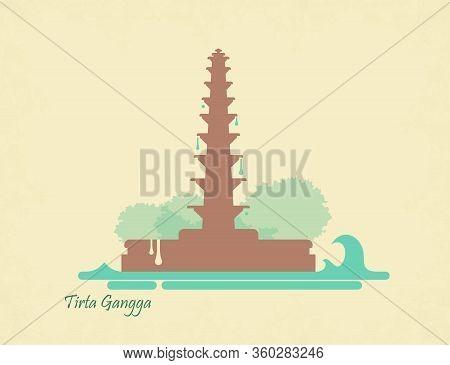 Water Palace Of Tirta Gangga. Landmark In Bali, Indonesia. Postcard In Vintage Style