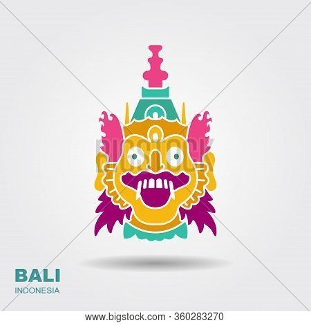 Barong. Traditional Ritual Balinese Mask. Flat Icon