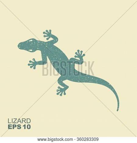 Lizard. Flat Monochrome Icon With A Shabby Effect. Vector Illustration
