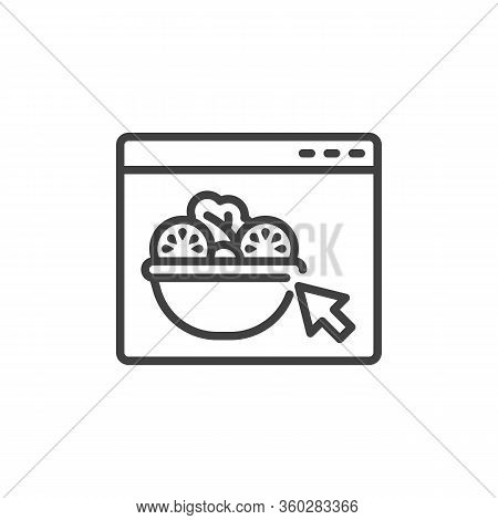 Online Vegetable Salad Ordering Line Icon. Restaurant Food Delivery Service Linear Style Sign For Mo