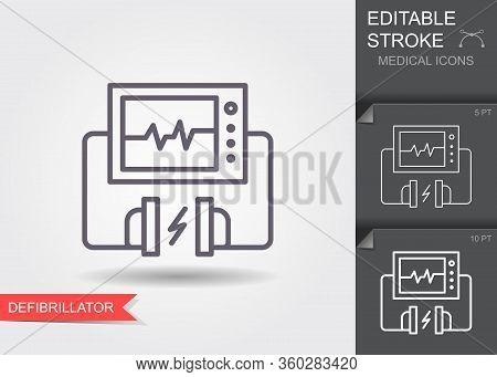 Heart Defibrillator. Linear Medical Symbols With Editable Stroke