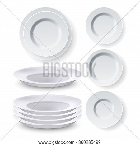 Plates Dinner Equipment Collection Set Vector. Blank Different Style Dining Empty Ceramic Plates For