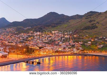 Cityscape Of Madeira Coast Town At Twilight. Madeira Island, Portugal