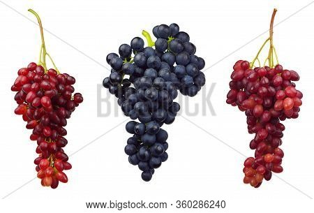 Set Of Different Grape Branches. Grape Berries Collection Isolated On White Background Cutout. Healt