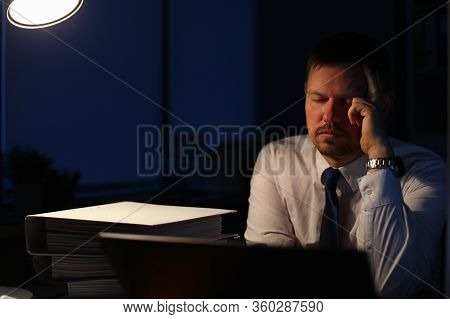 Portrait Of Smart Businessman Sitting Indoors And Closing Tired Eyes Trying To Have Sweet Slumber Af