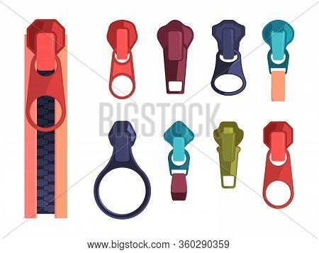 Zipper. Fashion Steel Colored Items For Zippered Decoration Textile Clothes. Vector Cartoon Collecti