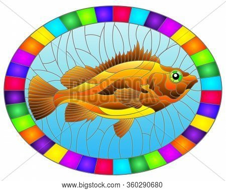 Illustration In Stained Glass Style With Abstract Red Sea Bass On Blue Background, Oval Image In Bri