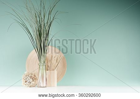 Modern Interior In Farmhouse Style - Bamboo Plate, Sheaf Of Cane In Glass Bottle, Decorative Round S