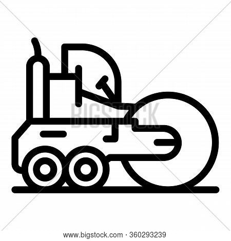 Machine Road Roller Icon. Outline Machine Road Roller Vector Icon For Web Design Isolated On White B
