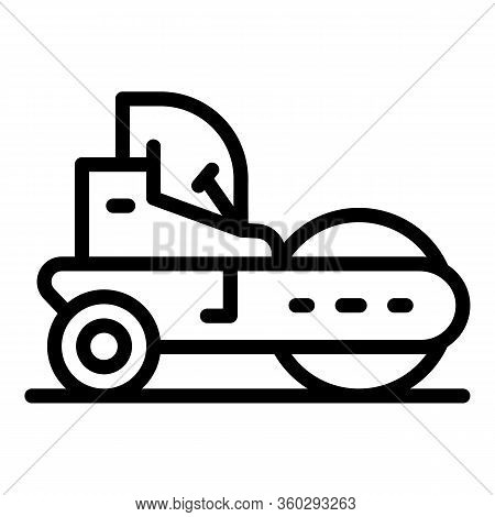 Repair Road Roller Icon. Outline Repair Road Roller Vector Icon For Web Design Isolated On White Bac