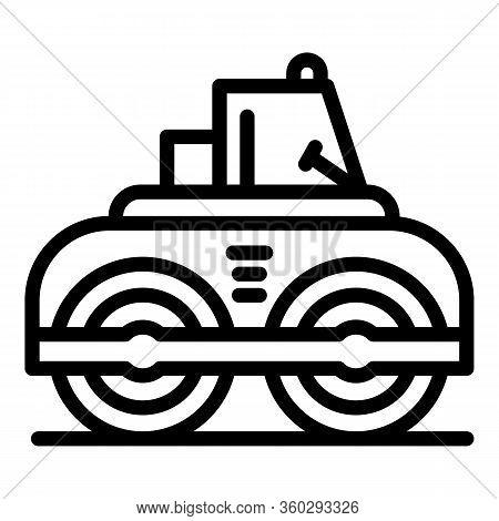 Asphalt Road Roller Icon. Outline Asphalt Road Roller Vector Icon For Web Design Isolated On White B