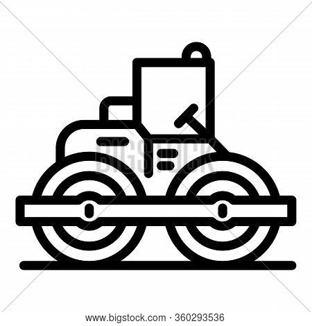 Technology Road Roller Icon. Outline Technology Road Roller Vector Icon For Web Design Isolated On W