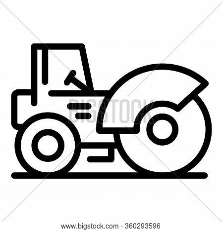 Highway Road Roller Icon. Outline Highway Road Roller Vector Icon For Web Design Isolated On White B