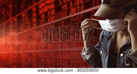 Tourist With Business Stock Graph Down. She Paranoid World Of Economy Finance Stock Graph And Market