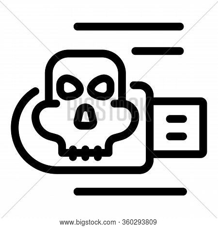 Fraud Usb Virus Icon. Outline Fraud Usb Virus Vector Icon For Web Design Isolated On White Backgroun