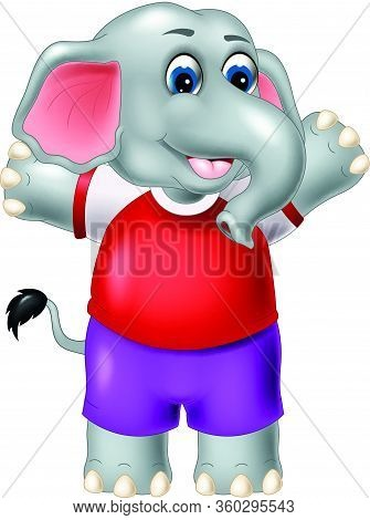 Cute Little Elephant With Red Shirt And Purple Pant Cartoon