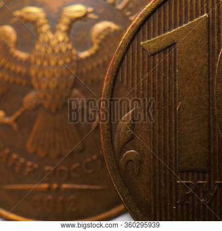 Russian Coins 10 Rubles, Fragment Very Close-up. Central Bank Of Russia, Refinancing Rate, Inflation