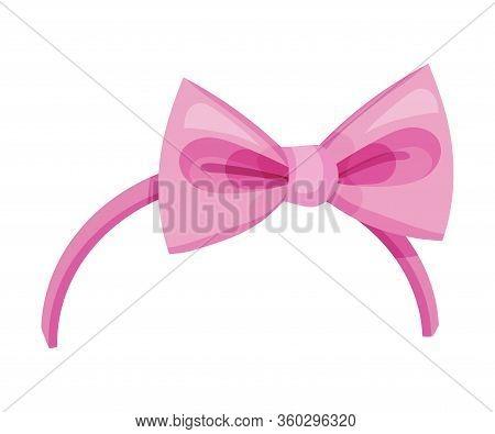 Girlish Headband With Bow For Doing Hair Vector Illustration