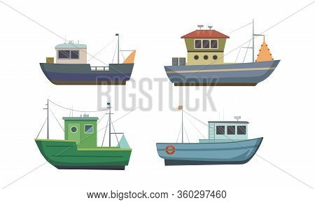 Set Of Commercial Sea Fishing Trawlers Vessels. Vector Illustration In Flat Cartoon Style.