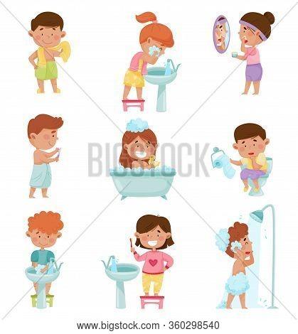 Kid Characters Taking Bath And Brushing Teeth Vector Illustrations Set