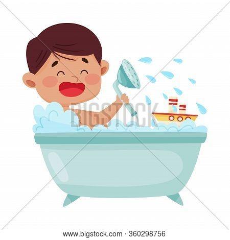 Cheerful Boy Taking A Bath Sitting In Bathtub Vector Illustration