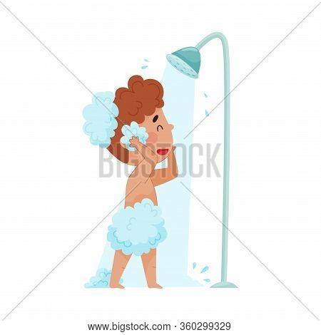 Cheerful Boy Taking A Shower Standing Under Shower Head Vector Illustration
