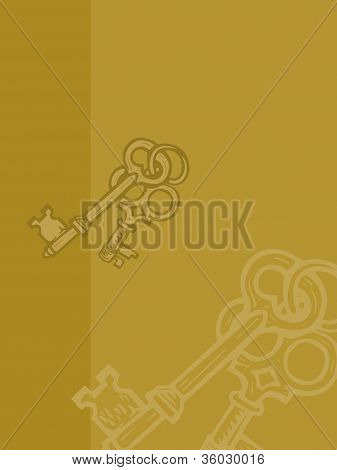 An Illustration of skeleton keys on a yellow background poster