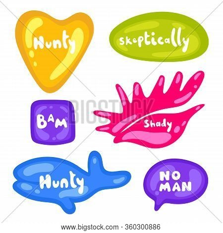 Set Of Stickers On Different Shapes. Collection Of Vector Multicolored Glossy Stickers On White Back