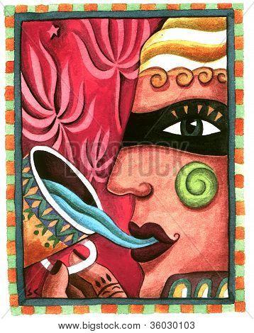 Masked Woman Drinking Blue Tea