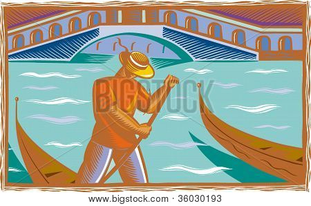 An Illustration Of A Gondolier In Venice