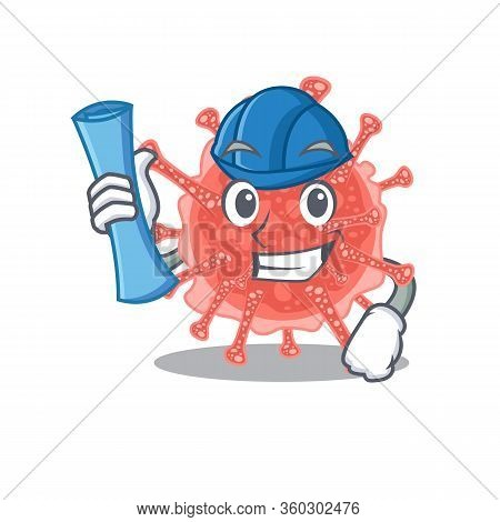 Cartoon Character Of Oncovirus Brainy Architect With Blue Prints And Blue Helmet