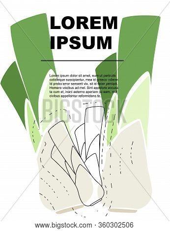 Advertising Flyer Or Greetings Card Design With Outline Leek Flat Vector Illustration On White Backg