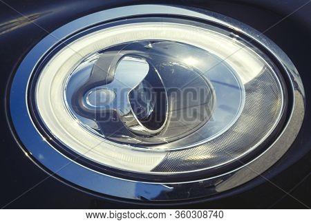 Oval Car Headlight, Headlight With Lens Closeup