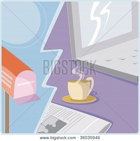 A Graphic Representation Of A Cup Of Morning Coffee; Newspaper; And Email