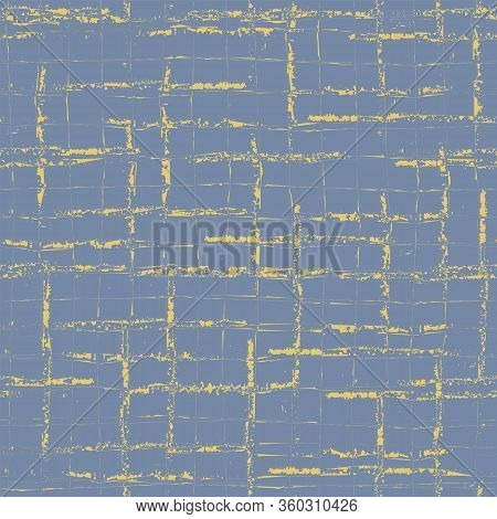 Retro Vector Broken Grid Seamless Pattern Background. Painterly Brush Scratch Grunge Style Weave Bac