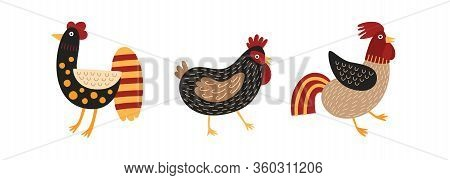 Set Of Funny Roosters And Chicken Isolated On White Background. Cartoon Cute Domestic Fowl, Poultry