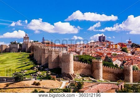 Panorama Of City Walls Of Old Town Of Avila, Spain - A Unesco World Heritage Site.
