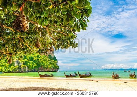 Beautiful And Popular Beach In Thailand At Krabi Town - The Railay Beach. View From The Shadow Of Tr