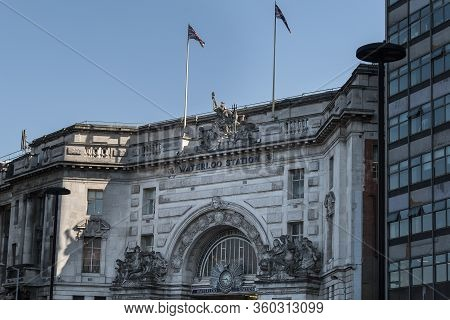 London, United Kingdom- June 2019: London Waterloo Facade, A Central London Terminus On The National