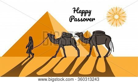 Happy Passover, Jewish Holiday Pesach. Vector Illustration Of Passover With Desert, Egyptian Pyramid
