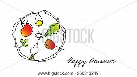 Jewish Seder Plate, Dish With Meal. Happy Passover Lettering, Holiday Pesach. Vector Illustration Of