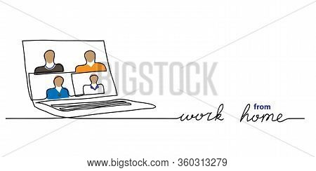 Laptop, Notebook, Computer With People, Online Conference, Videocall. Work From Home Vector Backgrou